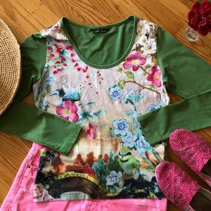 🌺 Oilily; European Green Abstract Floral Top Sz M